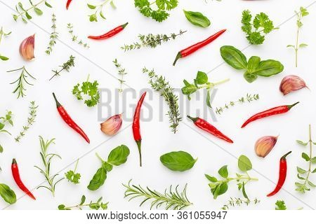 Spice Herbal Leaves And Chili Pepper On White Background. Vegetables Pattern. Floral And Vegetables