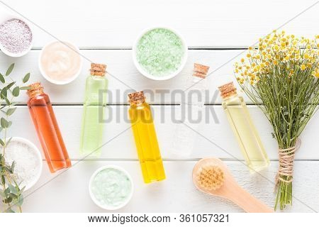 Spa Aromatherapy Cosmetic Products Concept, Spa Background With A Space For A Text, Flat Lay, View F