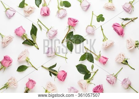Flowers Valentine Day Composition. Frame Made Of Pink Rose On Gray Background. Flat Lay, Top View, C