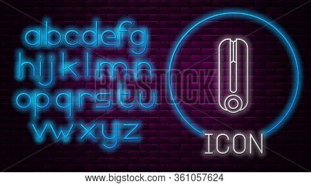 Glowing Neon Line Curling Iron For Hair Icon Isolated On Brick Wall Background. Hair Straightener Ic