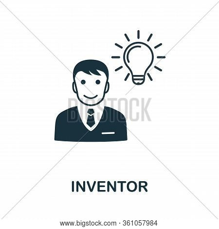 Inventor Icon. Simple Element From Intellectual Property Collection. Filled Inventor Icon For Templa