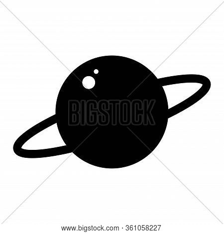 Planet Saturn With Planetary Ring System Flat Vector Icon For Astronomy Apps And Websites.