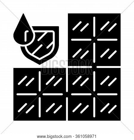 Waterproof Bathroom Tile Glyph Icon. Water Resistant Construction Material. Waterproofing Wall And F