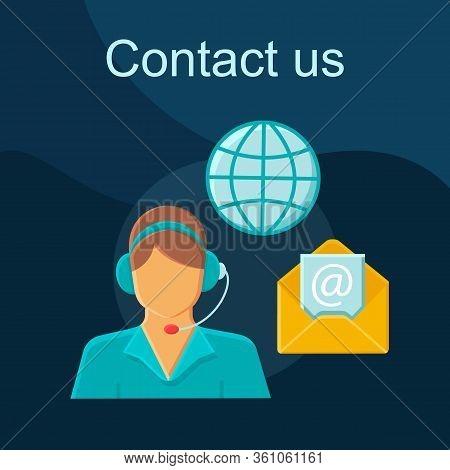 Contact Us Flat Concept Vector Icon. Global Helpdesk Idea Cartoon Color Illustrations Set. Customer