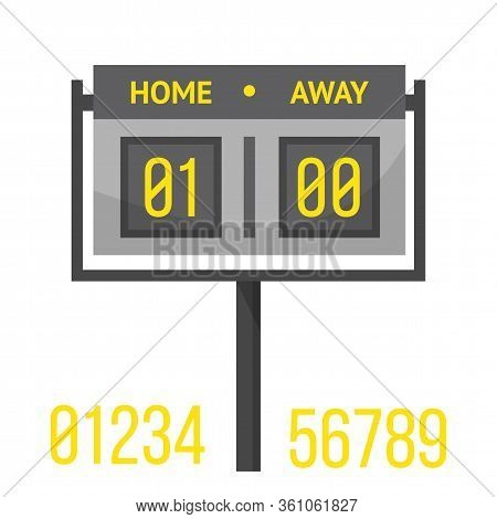 Soccer Scoreboard Flat Vector Illustration. Football Digital Board With Result Display Isolated Clip