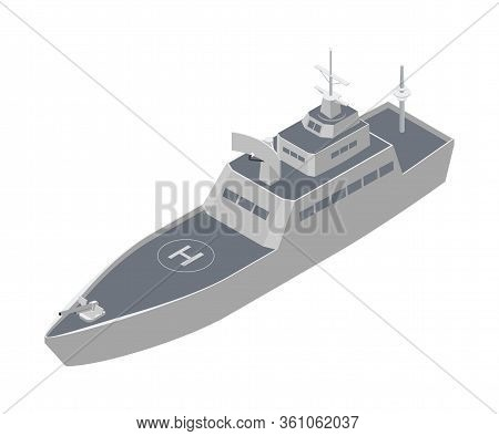 Military Warship Isometric Vector Illustration. Naval Combat Ship Clipart On White Background. Water