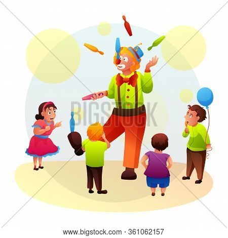 Cartoon Cute Funny Circus Clown Juggler In Colorful Costume Showing Tricks For Kids. Cheerful Amused
