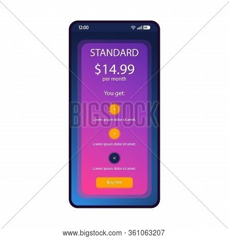 Tariff Plan Smartphone Interface Vector Template. Mobile Operator App Page Blue Design Layout. Month