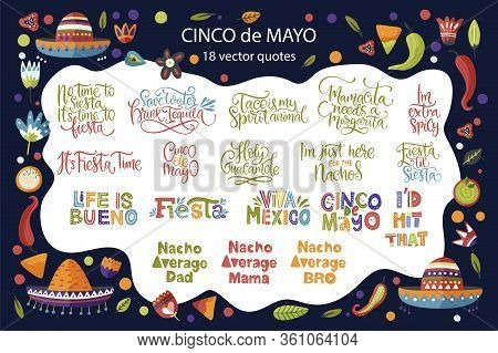 Cinco De Mayo Calligraphy Vector Set. Fiesta Typography Festive Lettering Greeting Collection. Quote