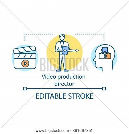 Video Production Director Concept Icon. Producer Idea Thin Line Illustration. Film Making. Movie, Tv