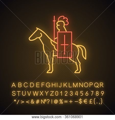 Horse Knight With Flag Neon Light Icon. Medieval Soldier Horseback With Standard And Lance. Warrior