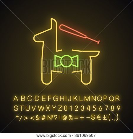 Pinata Neon Light Icon. Horse Figure With Toys And Sweets. Glowing Sign With Alphabet, Numbers And S