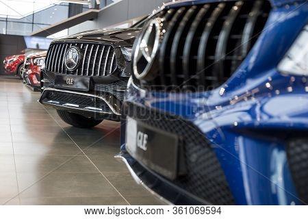 Russia, Izhevsk - February 20, 2020: Mercedes-benz Showroom. New Cars In The Dealer Showroom. Famous