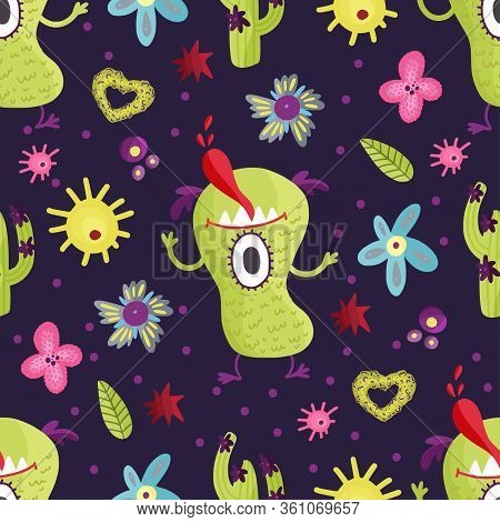 Cute Cartoon Green Monster Vector Seamless Pattern In A Flat Style. Funny Kid Alien Character Backgr