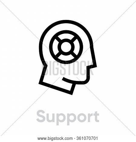 Support Lifebuoy Help Icon. Editable Line Vector.