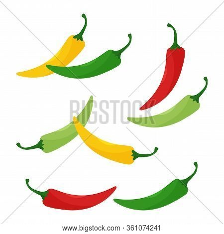Hot Chili Peppers, Jalapeno Vegetables, Cayenne Pepper Red, Green, Yellow Colors Isolated On White B