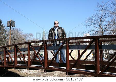 Attractive Twenty Something Caucasian Man on Bridge