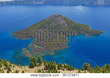 Aerial View From The Watchman Of A The Volcanic Cone Wizard Island In A Caldera Of Crater Lake In Or