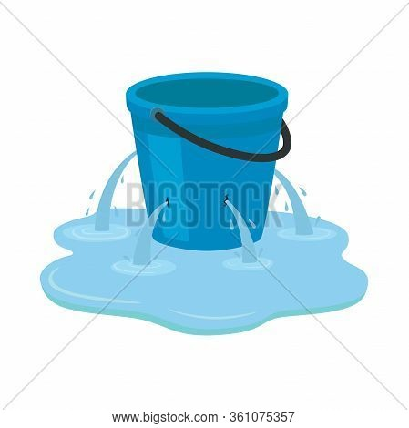 Leaking Bucket. Vector Illustration Isolated On White Background.
