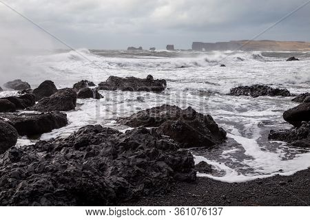 Iceland Winter, Trolls Fingers Rock, Vik Village, Sunset In Iceland