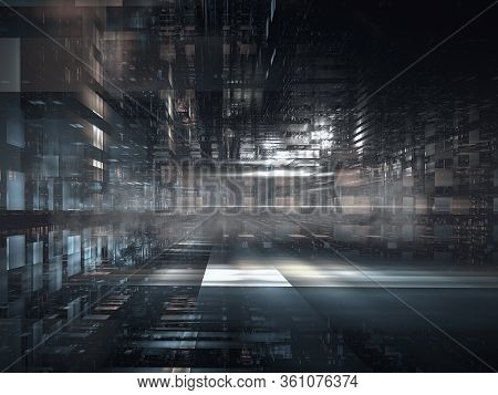 Abstract Dark And Gloomy Sci Fi Or High Tech Background - Computer-generated 3d Illustration. Empty