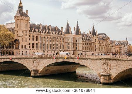 Paris, France - April 7, 2019: Conciergerie Medieval Royal Palace And Prison On West Of Ile De La Ci