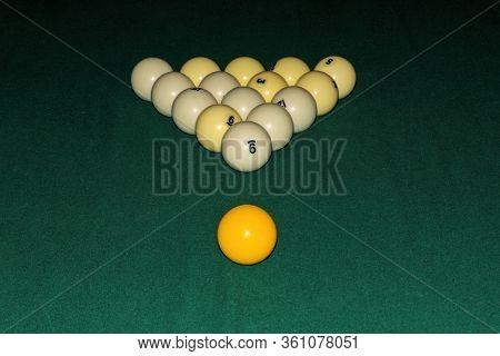 Billiard Table Close Up. Billiards Balls On Green Billiards Table.