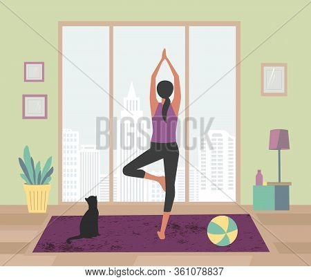 Woman Meditating Yoga Staying Home With Pets Flat Vector. Stay Home Meditation Practice Cute Cartoon