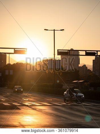 Split,croatia April 2020 Traffic At Sunrise In Split, Croatia.