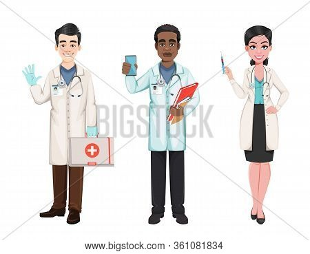 Doctors Working In The Hospital During Coronavirus Outbreak Covid-19. African American Male Doctor,