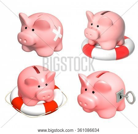 Concept - financial recession. Safe piggy bank with key, two parts of a coinbox fastened by a plaster, piggy bank and lifebuoy. Isolated on white background. 3d render