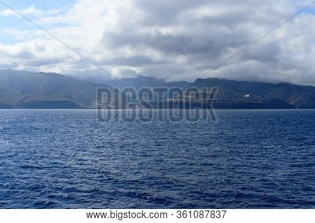 Magnificent Views From The High Seas With A Beautiful Enraged Sky As A Background The Island Of La G