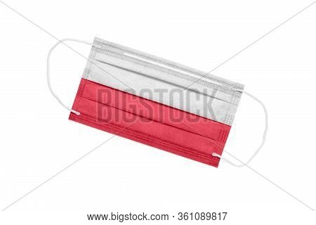 Medical Face Mask With Flag Of Poland Isolated On White Background. Poland Pandemic Concept. Attribu