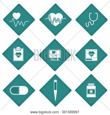 Set Of Medical Icons. Stickers Of An Electrocardiogram, Thermometer And Pills - Vector