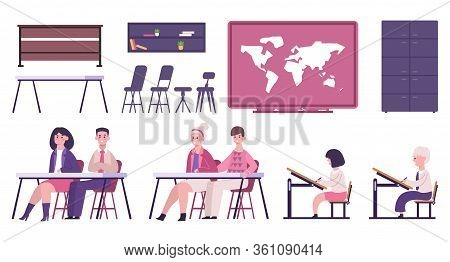 School Or University Furniture And Learning Materials Whiteboard Lesson Pupils Schoolchildren Classr