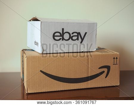London - Apr 2020: Ebay And Amazon Packet