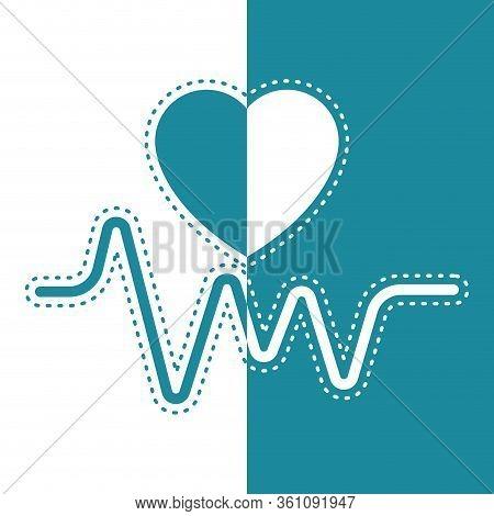 Bicolor Icon Of An Electrocardiogram - Vector Illustration
