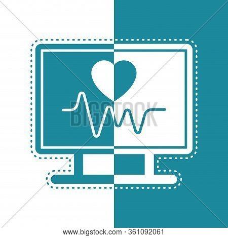 Bicolor Icon Of An Electrocardiogram In A Screen- Vector Illustration