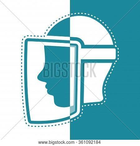 Bicolor Icon Of A Face Visor. Medical Biosecurity Uniform - Vector