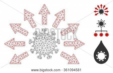 Mesh Virus Distribution Polygonal 2d Vector Illustration. Carcass Model Is Created From Virus Distri