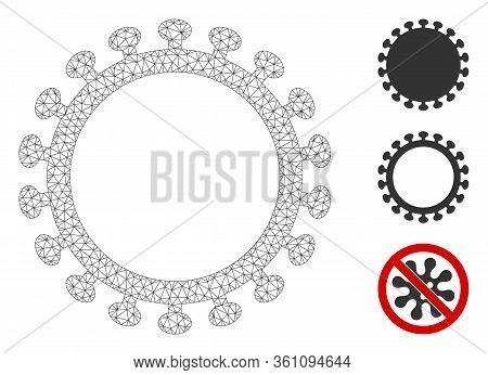 Mesh Virus Shell Polygonal Icon Vector Illustration. Carcass Model Is Based On Virus Shell Flat Icon