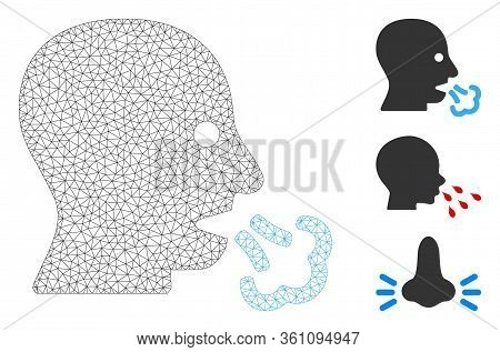 Mesh Sneeze Polygonal Icon Vector Illustration. Carcass Model Is Based On Sneeze Flat Icon. Triangul