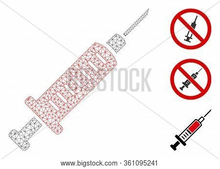 Mesh Syringe Polygonal Symbol Vector Illustration. Carcass Model Is Based On Syringe Flat Icon. Tria