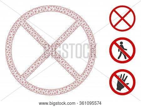Mesh Restricted Polygonal Symbol Vector Illustration. Model Is Based On Restricted Flat Icon. Triang