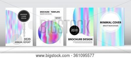 Holographic Gradient Vector Background. Rainbow Magazine Print Template. Iridescent Gradient Overlay