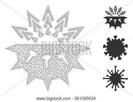 Mesh Coronavirus Structure Polygonal 2d Vector Illustration. Model Is Based On Coronavirus Structure