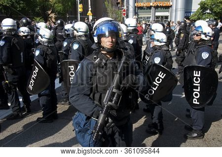 Toronto, Ontario, Canada - 06/25/2010 : Riot Police In Full Gear To Control Thousands Activists Marc