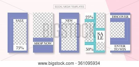 Social Stories Cool Vector Layout. Online Shop Abstract Invitation Brand. Tech Sale, New Arrivals St