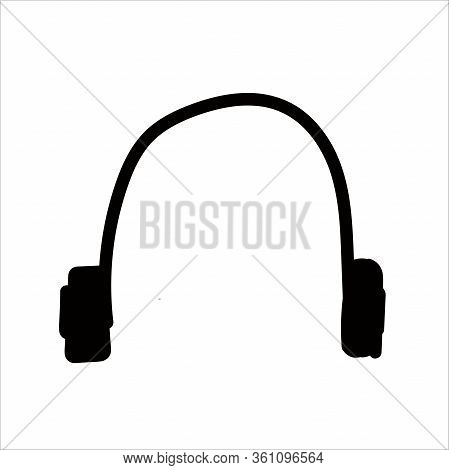 Wireless Headphones In Doodle Style Isolated On White Background. Sign Icon. Vector Outline Illustra