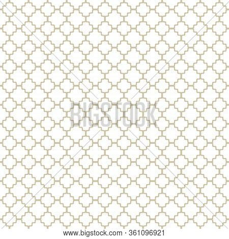 Subtle Golden Vector Geometric Seamless Pattern With Ornamental Grid, Net, Mesh, Lattice. Simple Abs